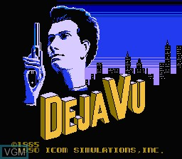 Title screen of the game Deja Vu on Nintendo NES