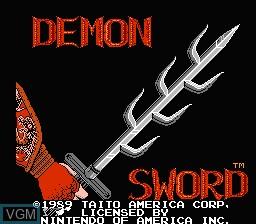 Title screen of the game Demon Sword on Nintendo NES