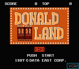 Title screen of the game Donald Land on Nintendo NES