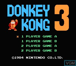 Title screen of the game Donkey Kong 3 on Nintendo NES