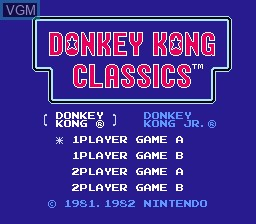 Title screen of the game Donkey Kong Classics on Nintendo NES