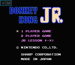Title screen of the game Donkey Kong Jr. + Jr. Lesson on Nintendo NES