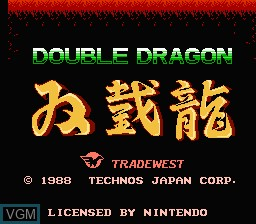 Title screen of the game Double Dragon on Nintendo NES