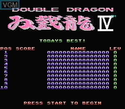 Title screen of the game Double Dragon IV on Nintendo NES
