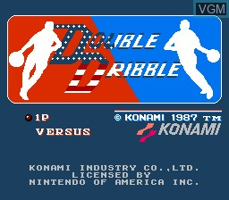 Title screen of the game Double Dribble on Nintendo NES