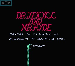 Title screen of the game Dr. Jekyll and Mr. Hyde on Nintendo NES
