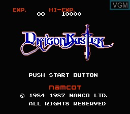Title screen of the game Dragon Buster on Nintendo NES