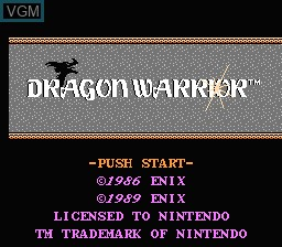 Title screen of the game Dragon Warrior on Nintendo NES