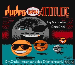 Title screen of the game Dudes With Attitude on Nintendo NES