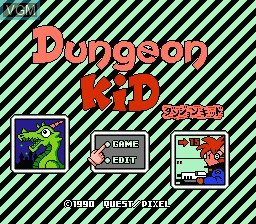 Title screen of the game Dungeon Kid on Nintendo NES