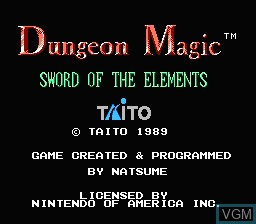 Title screen of the game Dungeon Magic - Sword of the Elements on Nintendo NES
