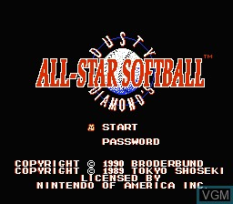 Title screen of the game Dusty Diamond's All-Star Softball on Nintendo NES