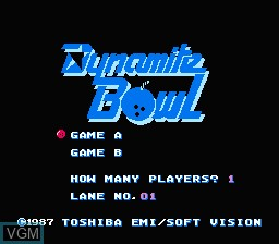 Title screen of the game Dynamite Bowl on Nintendo NES