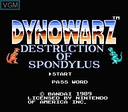 Title screen of the game Dynowarz - The Destruction of Spondylus on Nintendo NES