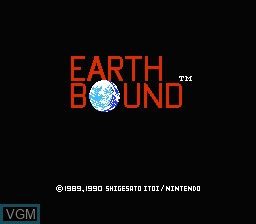 Title screen of the game Earthbound on Nintendo NES