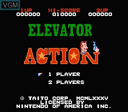 Title screen of the game Elevator Action on Nintendo NES