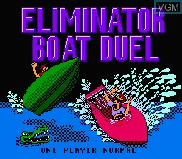 Title screen of the game Eliminator Boat Duel on Nintendo NES