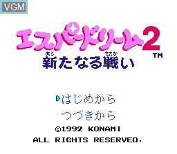 Title screen of the game Esper Dream 2 - Aratanaru Tatakai on Nintendo NES