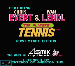 Title screen of the game Top Players' Tennis - Featuring Chris Evert & Ivan Lendl on Nintendo NES