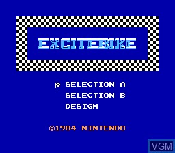Title screen of the game Excitebike on Nintendo NES