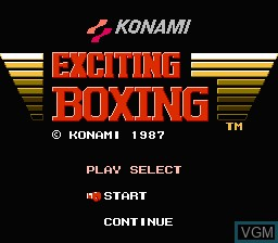 Title screen of the game Exciting Boxing on Nintendo NES