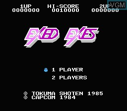 Title screen of the game Exed Exes on Nintendo NES