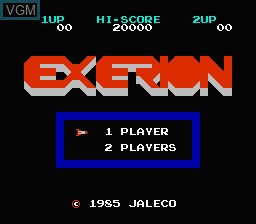 Title screen of the game Exerion on Nintendo NES