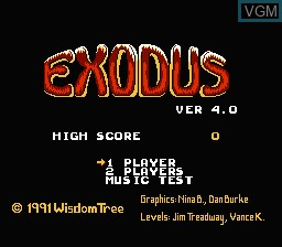 Title screen of the game Exodus - Journey to the Promised Land on Nintendo NES