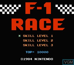 Title screen of the game F-1 Race on Nintendo NES