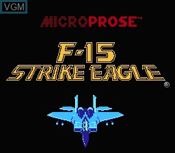 Title screen of the game F-15 Strike Eagle on Nintendo NES