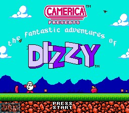 Title screen of the game Dizzy The Adventurer on Nintendo NES