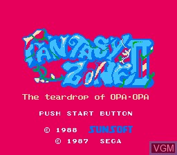 Title screen of the game Fantasy Zone 2 - The Teardrop of Opa-Opa on Nintendo NES