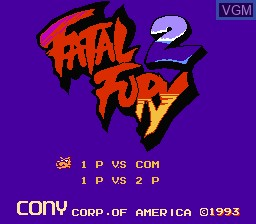 Title screen of the game Fatal Fury 2 on Nintendo NES