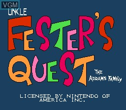 Title screen of the game Fester's Quest on Nintendo NES