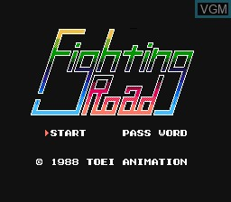 Title screen of the game Fighting Road on Nintendo NES