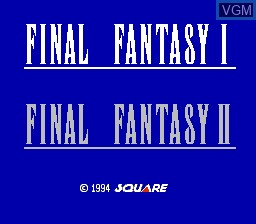 Title screen of the game Final Fantasy I & II on Nintendo NES