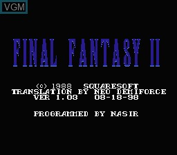 Title screen of the game Final Fantasy II on Nintendo NES