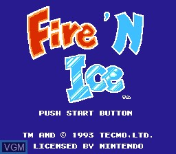 Title screen of the game Fire 'n Ice on Nintendo NES
