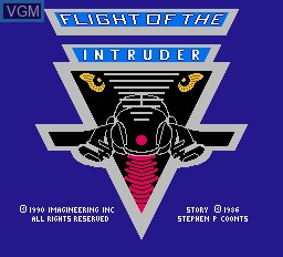 Title screen of the game Flight of the Intruder on Nintendo NES