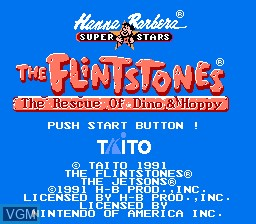 Title screen of the game Flintstones, The - The Rescue of Dino & Hoppy on Nintendo NES