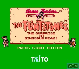 Title screen of the game Flintstones, The - The Surprise at Dinosaur Peak! on Nintendo NES