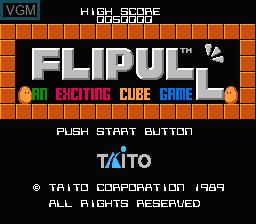 Title screen of the game Flipull - An Exciting Cube Game on Nintendo NES