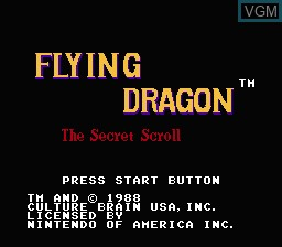 Title screen of the game Flying Dragon - The Secret Scroll on Nintendo NES