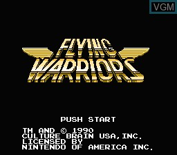 Title screen of the game Flying Warriors on Nintendo NES