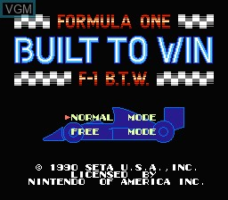 Title screen of the game Formula One - Built To Win on Nintendo NES