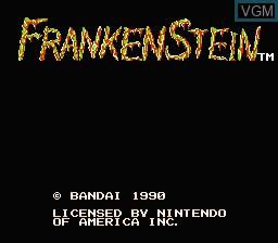 Title screen of the game Frankenstein - The Monster Returns on Nintendo NES