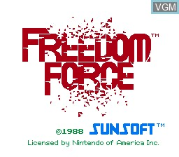 Title screen of the game Freedom Force on Nintendo NES
