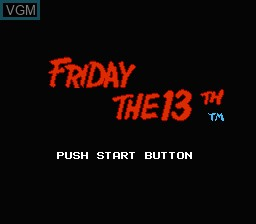 Title screen of the game Friday the 13th on Nintendo NES