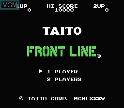 Title screen of the game Front Line on Nintendo NES