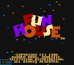 Title screen of the game Fun House on Nintendo NES